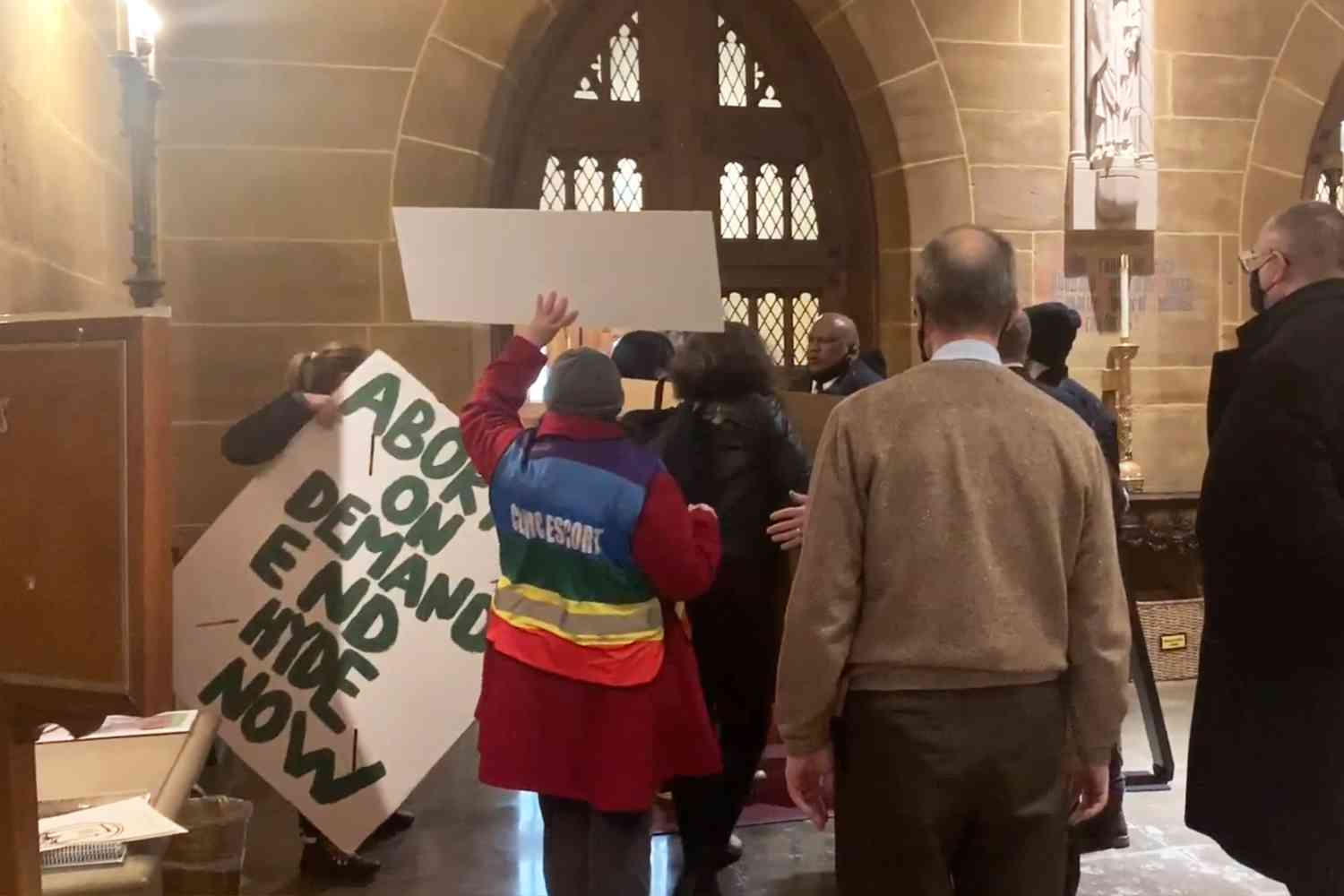 Video: A bunch of pro-abortion radicals stormed a Catholic mass in OH and started screaming and chanting and kicking over tables