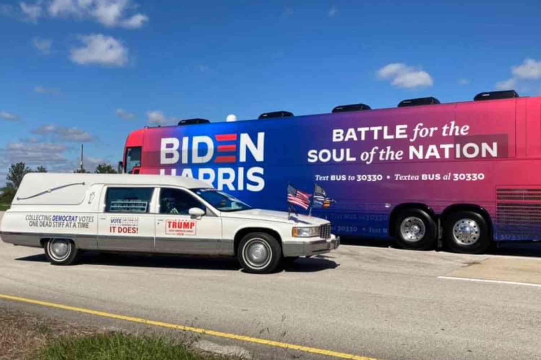 "Trump supporter follows Biden campaign bus all over Houston in hearse called the  ""Democrat Cemetery Vote Collector"""